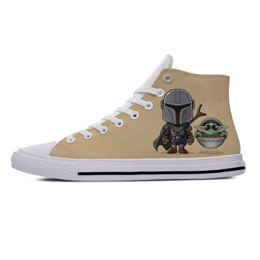 Star Wars Baby Yoda Mandalorian Cute Funny Vogue Casual Canvas Shoes High Top Lightweight Breathable 3D 2