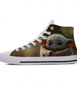 Star Wars Baby Yoda Mandalorian Cute Funny Vogue Casual Canvas Shoes High Top Lightweight Breathable 3D 3