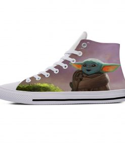 Star Wars Baby Yoda Mandalorian Cute Funny Vogue Casual Canvas Shoes High Top Lightweight Breathable 3D 4