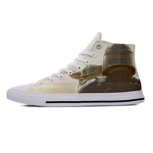Star Wars Baby Yoda Mandalorian Cute Funny Vogue Casual Canvas Shoes High Top Lightweight Breathable 3D