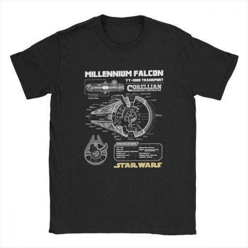 Star Wars T Shirt Men Millennium Falcon Tshirt Geek Schematics Tops Short Sleeve Novelty T Shirt 1