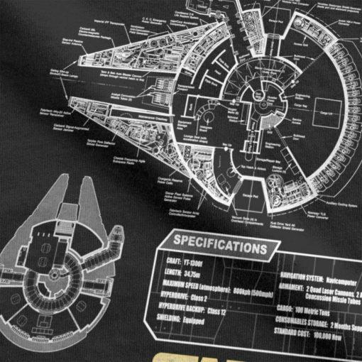 Star Wars T Shirt Men Millennium Falcon Tshirt Geek Schematics Tops Short Sleeve Novelty T Shirt 2