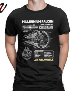 Star Wars T Shirt Men Millennium Falcon Tshirt Geek Schematics Tops Short Sleeve Novelty T Shirt