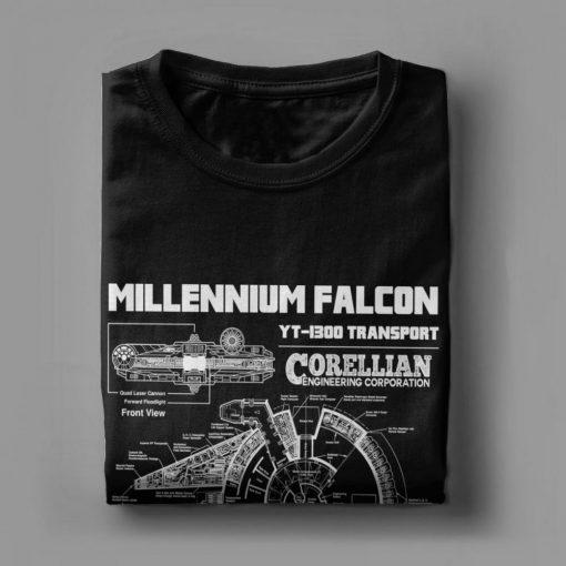Star Wars T Shirt Men Millennium Falcon Tshirt Geek Schematics Tops Short Sleeve Novelty T Shirt 3
