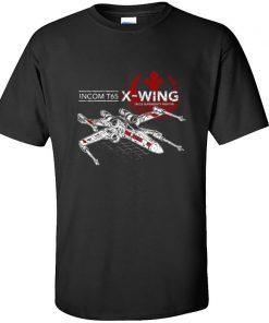 Star Wars TIE Fighter T65 X Wing Leisure Top T Shirt Aircraft Plane Starwars Printed Tshirt