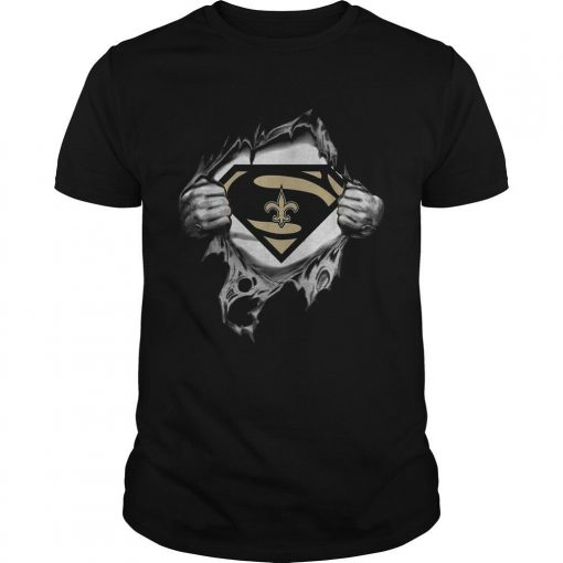 Superman New Orlean Saints Inside Me Shirt Funny Black Vintage Gift Men Women