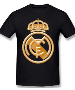 T Shirts Men Golden Real Madrided Crest T shirt High Quality Tee Father Day Tops 100 1