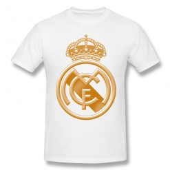 T Shirts Men Golden Real Madrided Crest T shirt High Quality Tee Father Day Tops 100