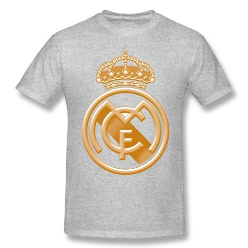 T Shirts Men Golden Real Madrided Crest T shirt High Quality Tee Father Day Tops 100 3