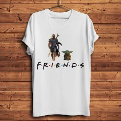 The Mandalorian Boba Fett and child baby Yoda friends funny t shirt men 2019 summer new