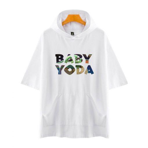 The Mandalorian Star Wars Baby Yoda Women Men Hip Hop T Shirt Harajuku Short Sleeve Hooded