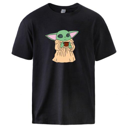 The Mandalorian Star Wars T shirts Mens Summer Short Sleeve Top Fashion Cute Baby Yoda Print