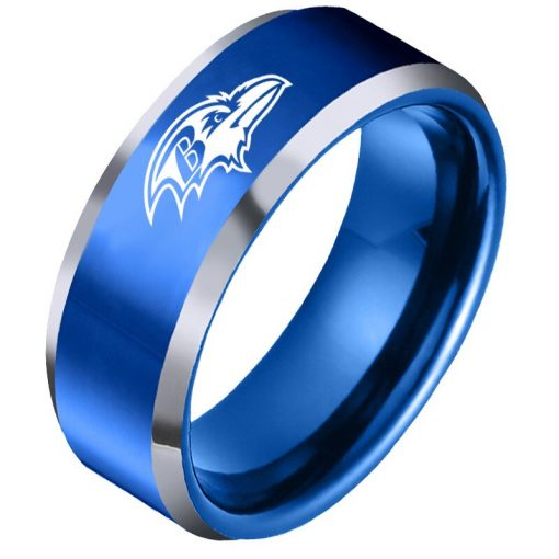The National Football LeagueTM NFL Baltimore RavensTM Team Logo Titanium Steel Ring Fashion for Fans Metal 3
