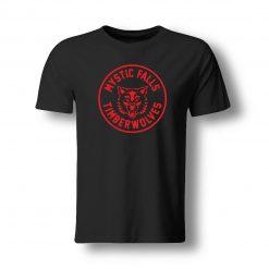 The Vampire Diaries inspired Black Tshirt Red Mystic Falls Timberwolves Vampire Funny Casual Brand t shirts