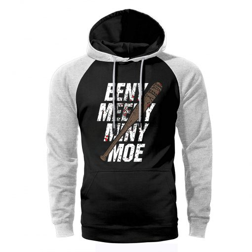 The Walking Dead Hoodie Men Eeny Meeny Miny Moe Raglan Sweatshirts Spring Autumn Loose Streetwear Negan