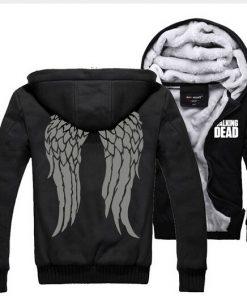 The Walking Dead Hoodie Zombie Daryl Dixon Wings Warm Winter Fleece Zip Up Clothing Coat Sweatshirts