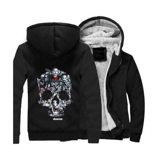 The Walking Dead Rick Grimes Streetwear Hoodies Negan Sweatshirt Men Winter Fleece Thick Hooded Coat Hoodie 1