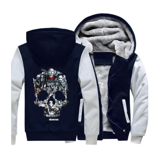 The Walking Dead Rick Grimes Streetwear Hoodies Negan Sweatshirt Men Winter Fleece Thick Hooded Coat Hoodie 4