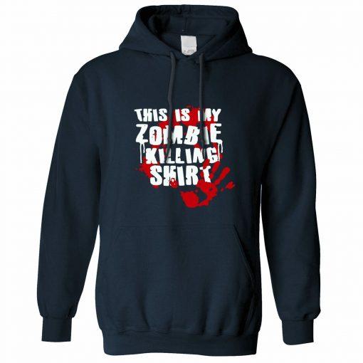 This Is My Zombie Killing Hoodie Hood Halloween Slogan Walking Living Dead men long sleeve gym
