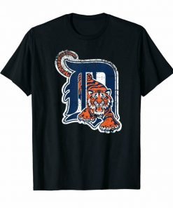 Tiger Mascot Distressed Detroit Base New T Shirt Size M 3Xl High Quality Casual Printing Tee