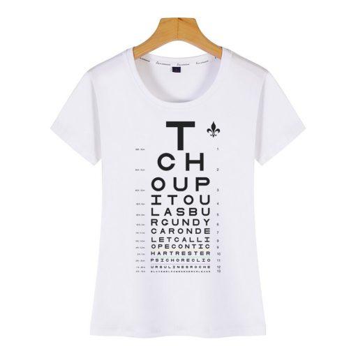 Tops T Shirt Women new orleans eye chart Basic Vintage Cotton Female Tshirt 1