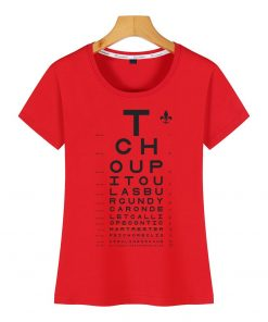 Tops T Shirt Women new orleans eye chart Basic Vintage Cotton Female Tshirt 2