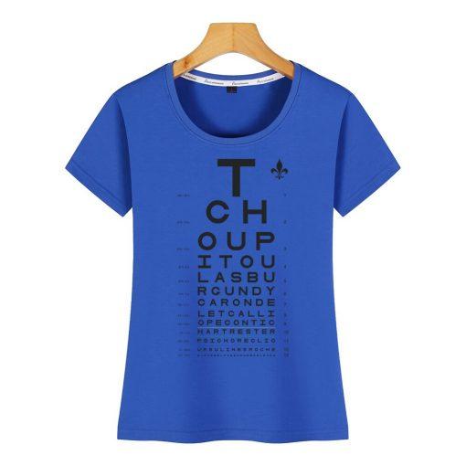Tops T Shirt Women new orleans eye chart Basic Vintage Cotton Female Tshirt 3