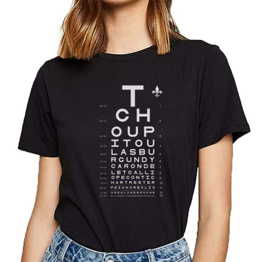 Tops T Shirt Women new orleans eye chart Basic Vintage Cotton Female Tshirt