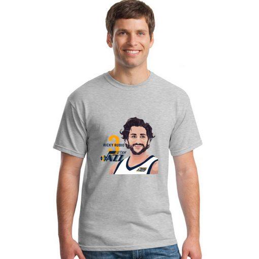 Utah Jazz Ricky Rubio Spanish Golden Boy Men Basketball Jersey Tee Shirts Fashion Man Funny Cartoon 1