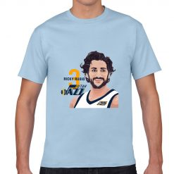 Utah Jazz Ricky Rubio Spanish Golden Boy Men Basketball Jersey Tee Shirts Fashion Man Funny Cartoon