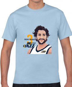 Utah Jazz Ricky Rubio Spanish Golden Boy Men Basketball Jersey Tee Shirts Fashion Man Funny Cartoon