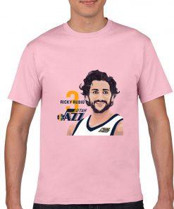Utah Jazz Ricky Rubio Spanish Golden Boy Men Basketball Jersey Tee Shirts Fashion Man Funny Cartoon 3
