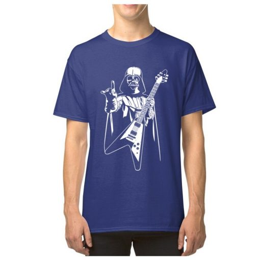 Vader Rocks Tops TShirt Men Punk Star Wars Bass Guitar Player Gift T shirt Darth Funny 2