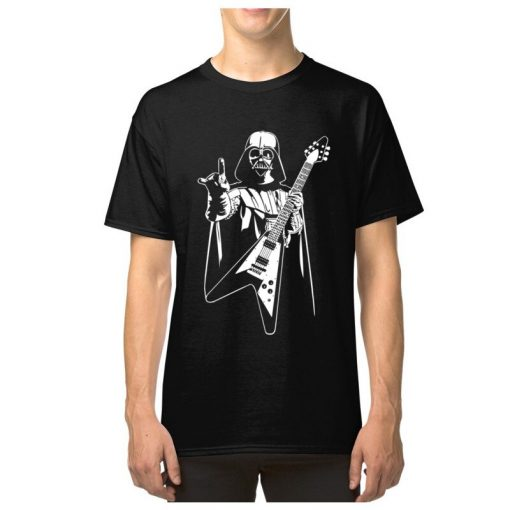 Vader Rocks Tops TShirt Men Punk Star Wars Bass Guitar Player Gift T shirt Darth Funny 4