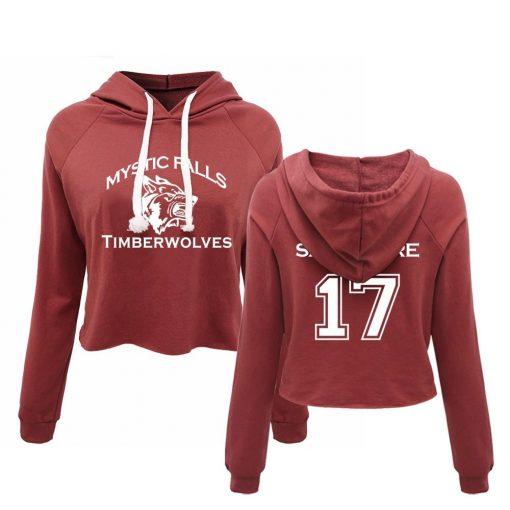 Vampire Diaries Mystic Falls Timberwolves Pullover Salvatore 17 Sweatshirt Women Lady crop top Sexy Hoodie