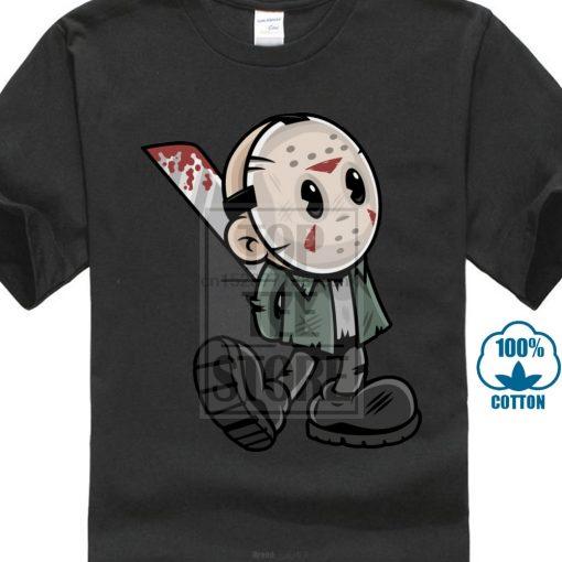 Vintage Voorhees T Shirt Funny Tops Men Cartoon T Shirt Friday The 13Th Tees Mask Man