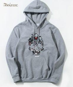 Walking Dead Skull Montage Hoodie Hoodies Sweatshirt Men 2018 New Winter Autumn Hooded Hoody Hip Hop 4