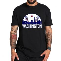 Washington Baseball Fans T Shirt Hometown Skyline National Vintage TShirt 100 Cotton Crew Neck Soft Tee