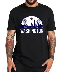 Washington Baseball Fans T Shirt Hometown Skyline National Vintage TShirt 100 Cotton Crew Neck Soft Tee