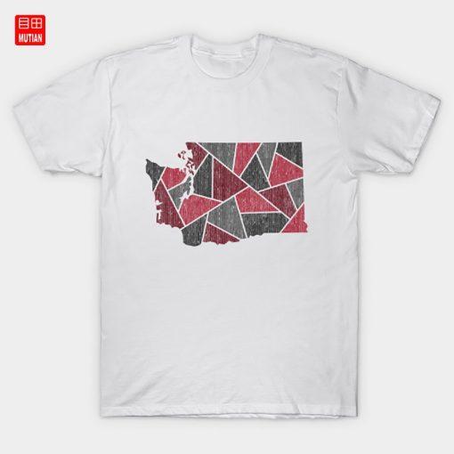 Washington Mosaic Red T Shirt Mount Rainier National Park West Coast Pnw Pacific Northwest Seattle Spokane