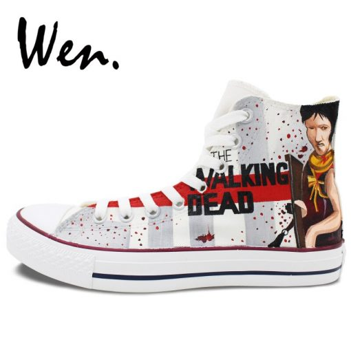 Wen Customized Grey Background The Walking Dead Hand Painted Skate Shoes Design Unisex Canvas Sneakers High 1