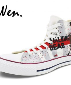 Wen Customized Grey Background The Walking Dead Hand Painted Skate Shoes Design Unisex Canvas Sneakers High 2