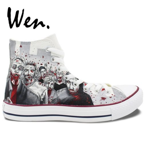Wen Customized Grey Background The Walking Dead Hand Painted Skate Shoes Design Unisex Canvas Sneakers High