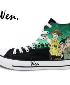 Wen Design Custom Hand Painted Sneakers Walking Dead Men Women s High Top Canvas Shoes for 2