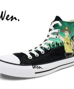 Wen Design Custom Hand Painted Sneakers Walking Dead Men Women s High Top Canvas Shoes for 3