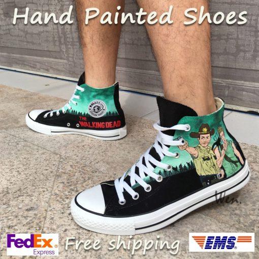 Wen Design Custom Hand Painted Sneakers Walking Dead Men Women s High Top Canvas Shoes for