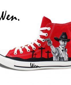 Wen Design Custom Red Hand Painted Shoes Walking Dead High Top Men Women s Canvas Sneakers 1