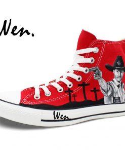 Wen Design Custom Red Hand Painted Shoes Walking Dead High Top Men Women s Canvas Sneakers 2