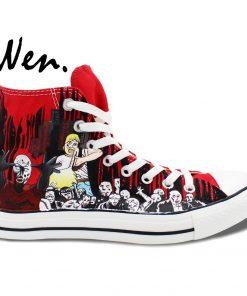 Wen Design Custom Red Hand Painted Shoes Walking Dead High Top Men Women s Canvas Sneakers