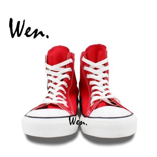 Wen Design Custom Red Hand Painted Shoes Walking Dead High Top Men Women s Canvas Sneakers 3